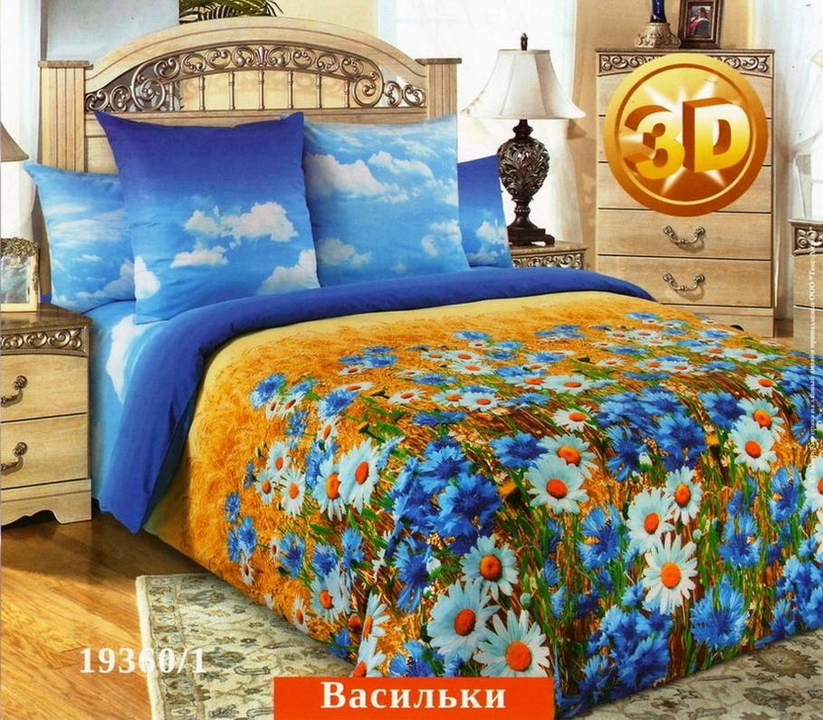 Комплект постельного белья Васильки (с компаньоном)Перкаль<br><br><br>Размер: 2сп. с европростыней (2 нав. 70х70)