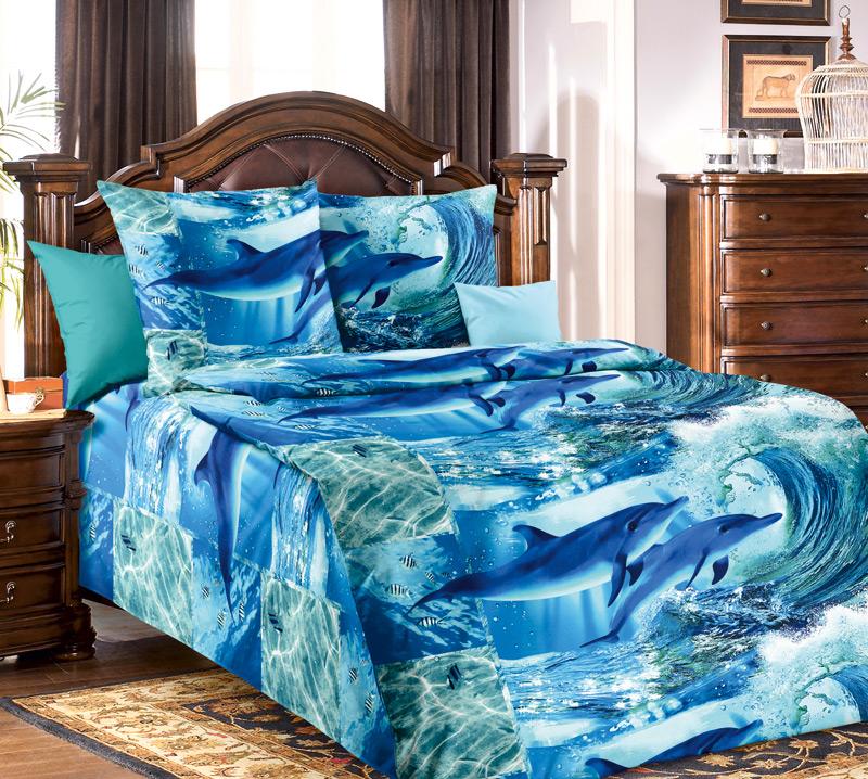 Комплект постельного белья ДельфинарийБязь<br><br><br>Размер: 1.5сп (2 нав.70х70)