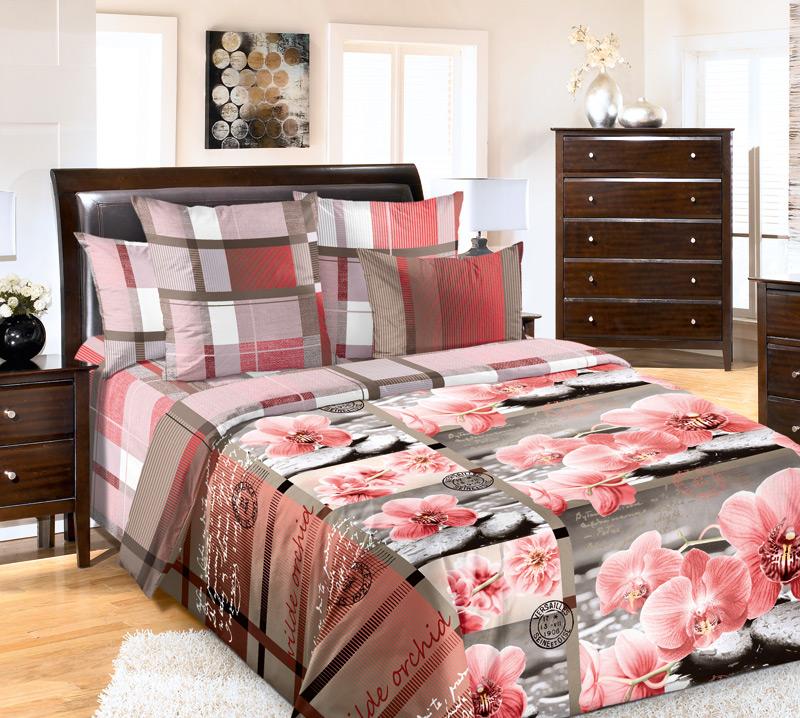 Комплект постельного белья Дикая орхидеяПеркаль<br><br><br>Размер: 2сп. с европростыней (2 нав. 70х70)