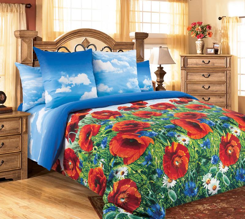 Комплект постельного белья Маковый цветПеркаль<br><br><br>Размер: 2сп. с европростыней (2 нав. 70х70)