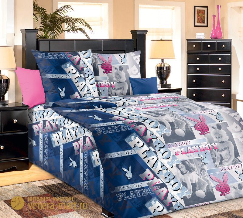Комплект постельного белья ПлейбойБязь<br><br><br>Размер: 1.5сп (2 нав.70х70)
