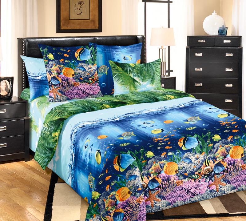 Комплект постельного белья Подводный мирБязь<br><br><br>Размер: 2сп. (2 нав. 70х70)
