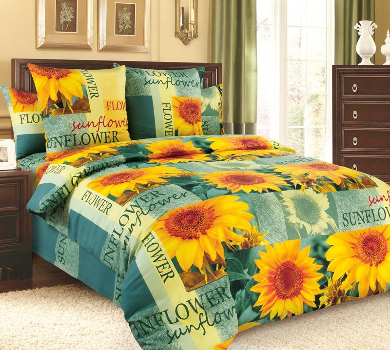 Комплект постельного белья Солнечный цветокБязь<br><br><br>Размер: Евростандарт (2 нав.70х70)