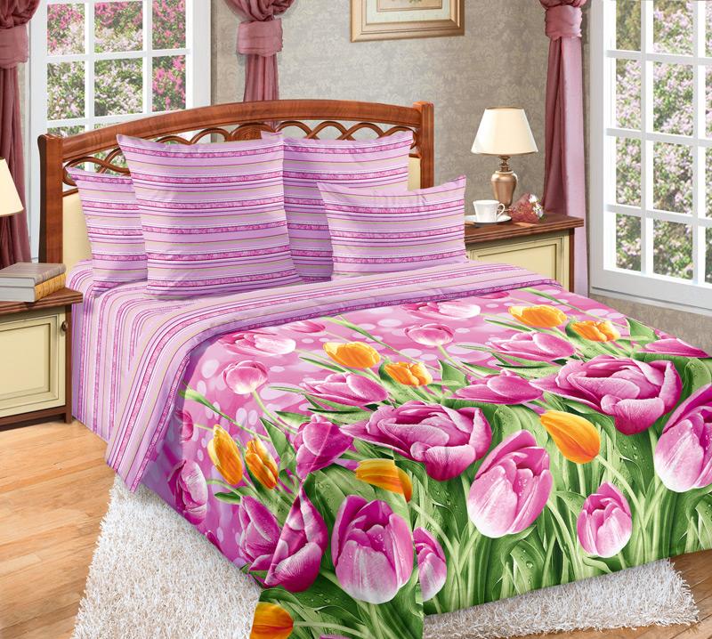 Комплект постельного белья ТюльпаныПеркаль<br><br><br>Размер: Семейный (2 нав. 70х70)