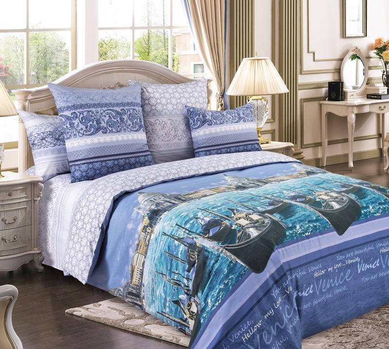 Комплект постельного белья Венеция синийПеркаль<br><br><br>Размер: 2сп. с европростыней (2 нав. 70х70)
