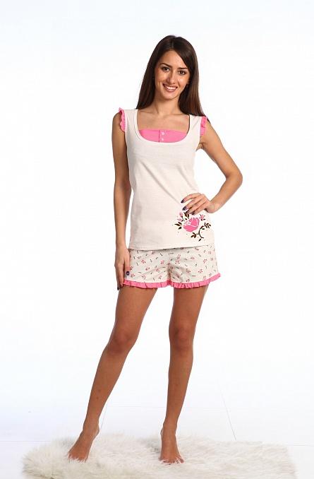 Комплект женский Роза (майка+шорты)Домашние комплекты, костюмы<br><br><br>Размер: 52