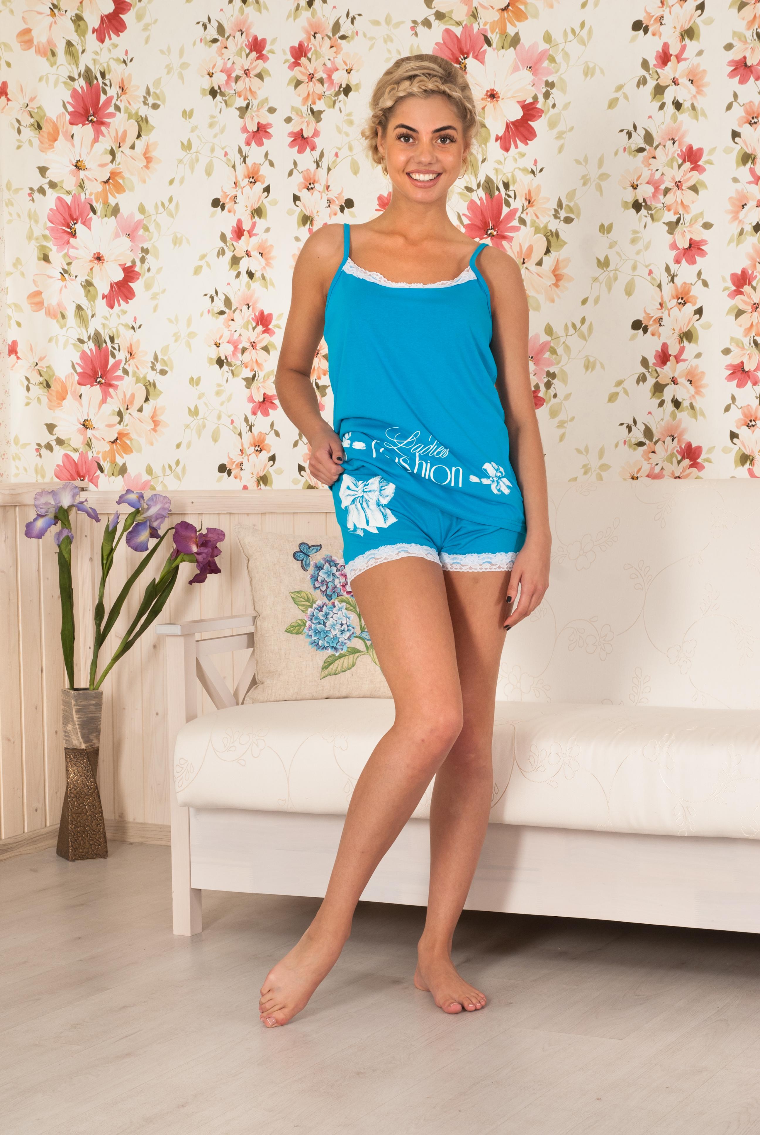 Пижама женская Фешн майка+шортыПижамы<br><br><br>Размер: Голубой
