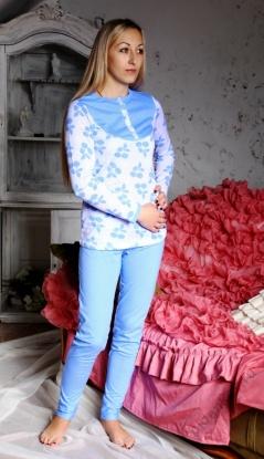 Пижама женская Вишня кофта + брюкиПижамы<br><br><br>Размер: 42