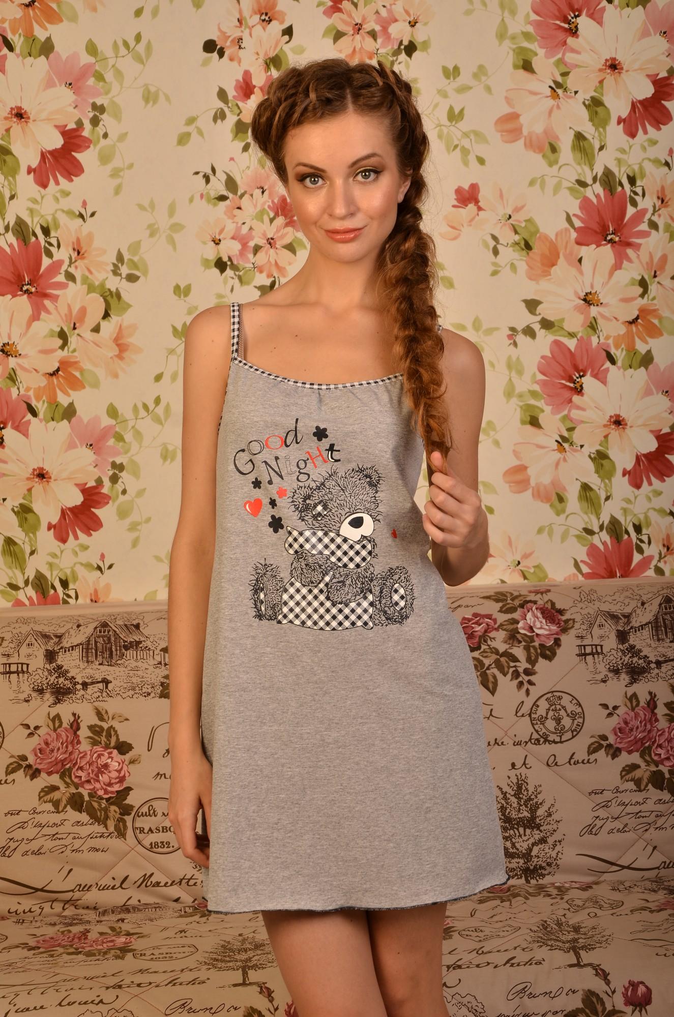 Сорочка женская на бретелях до колена с круглым вырезом с мишкой Тедди ИгрушкаДомашняя одежда<br><br><br>Размер: 46