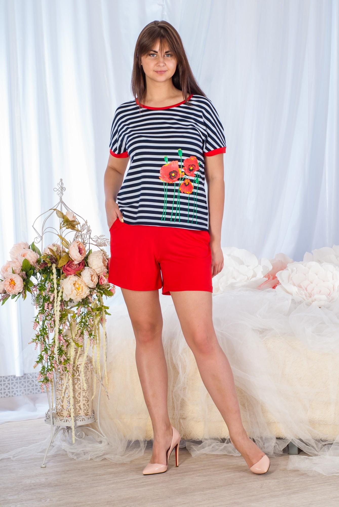 Костюм женский домашний Маки футболка и шортыКостюмы<br><br><br>Размер: 48