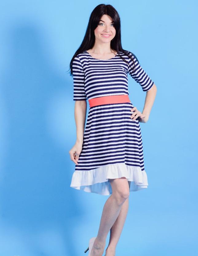Платье женское Марьяна с рюшей на подолеПлатья<br><br><br>Размер: 48