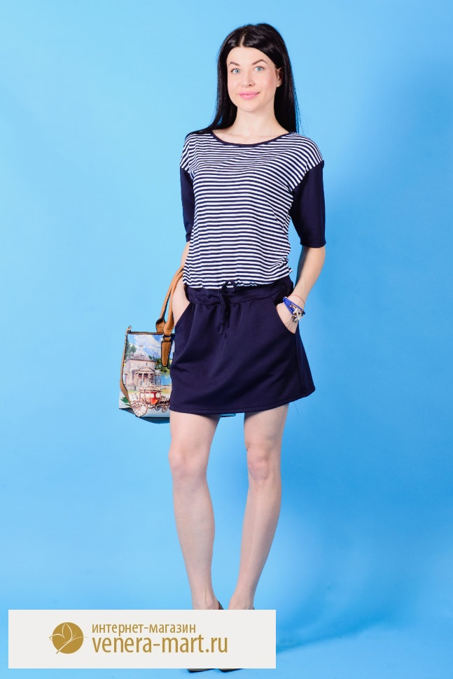 Платье женское Слава с коротким рукавомПлатья<br><br><br>Размер: 50
