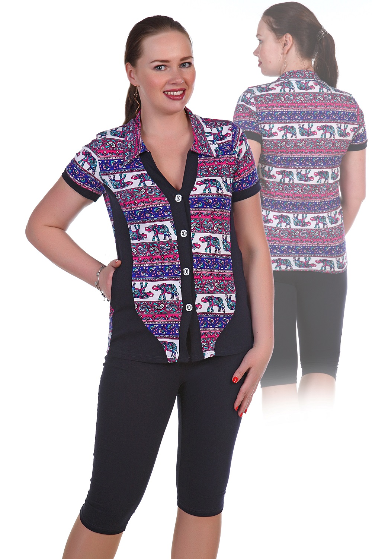 Костюм женский домашний Слоники рубашка и бриджиДомашняя одежда<br><br><br>Размер: 60