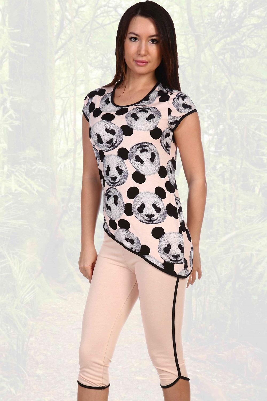 Пижама женская Экзо туника и бриджиПижамы<br><br><br>Размер: Розовый
