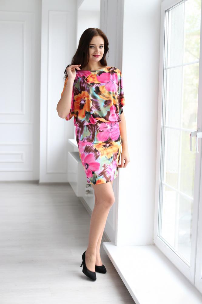 Платье женское Радуга с рукавом до локтяПлатья<br><br><br>Размер: 44