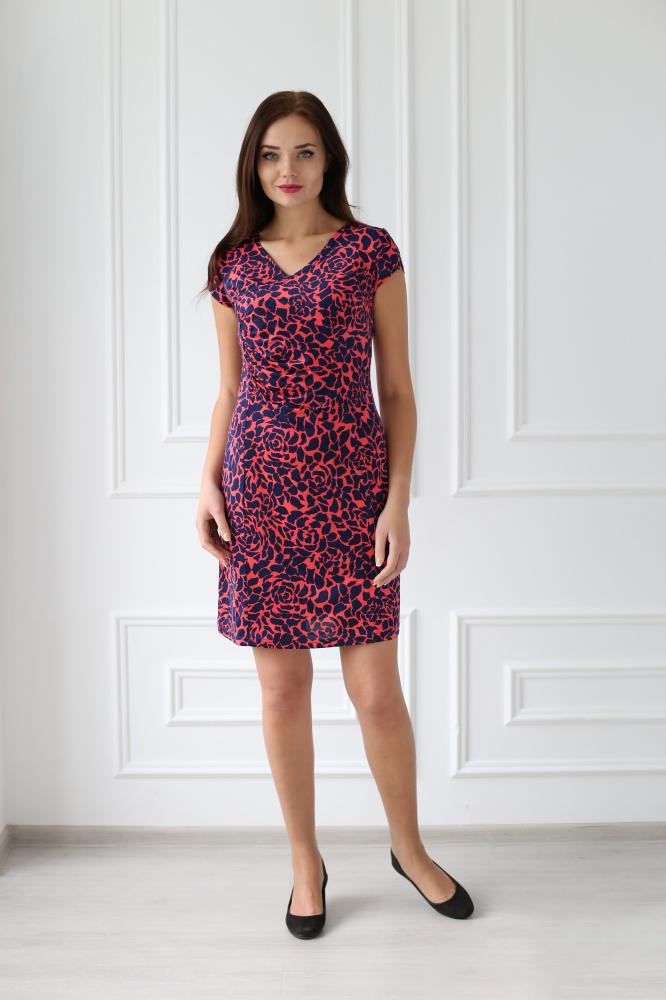 Платье женское Любовь с коротким рукавомПлатья<br><br><br>Размер: 46