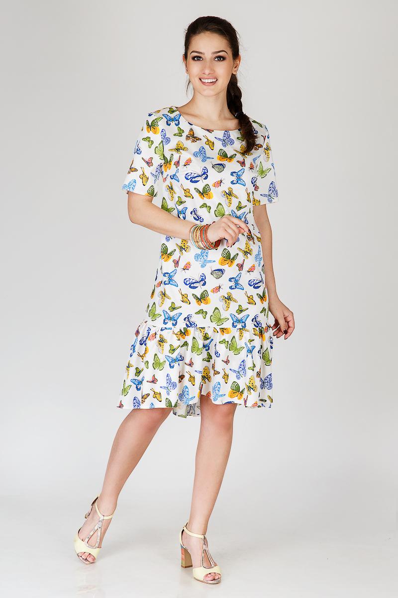 Платье женское Рай с оборками по подолуПлатья<br><br><br>Размер: 48