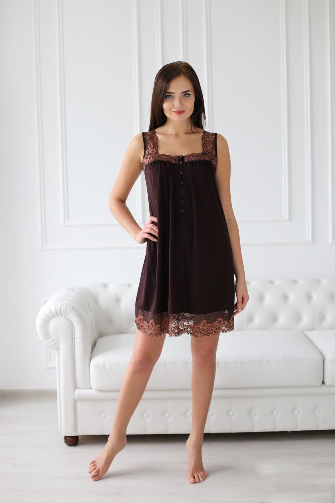 Сорочка женская Афина с кружевными бретелямиСорочки<br><br><br>Размер: 52