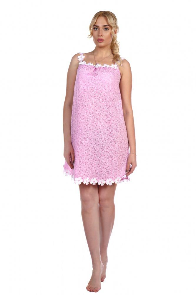 Сорочка женская Радость на бретелях из шитьяСорочки<br><br><br>Размер: Розовый