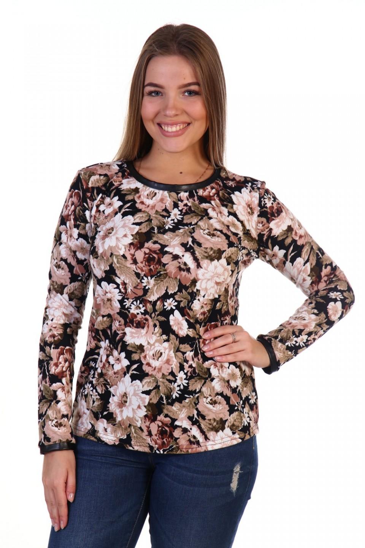 Блуза женская Шерил с кожаной отделкойБлузы<br><br><br>Размер: 54