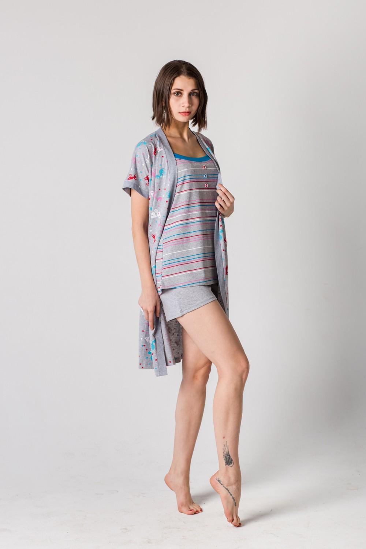 Комплект женский Илона майка, шорты и пеньюарКоллекция ВЕСНА-ЛЕТО<br><br><br>Размер: 54