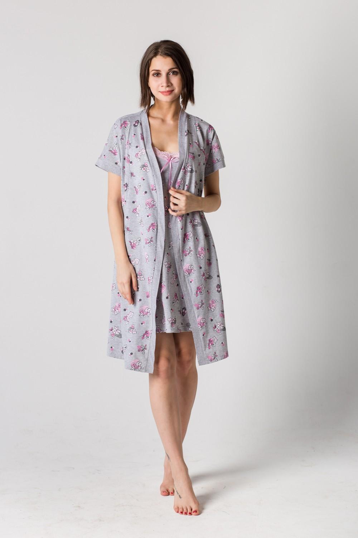 Комплект женский Симона пеньюар и сорочкаДомашние комплекты, костюмы<br><br><br>Размер: 42