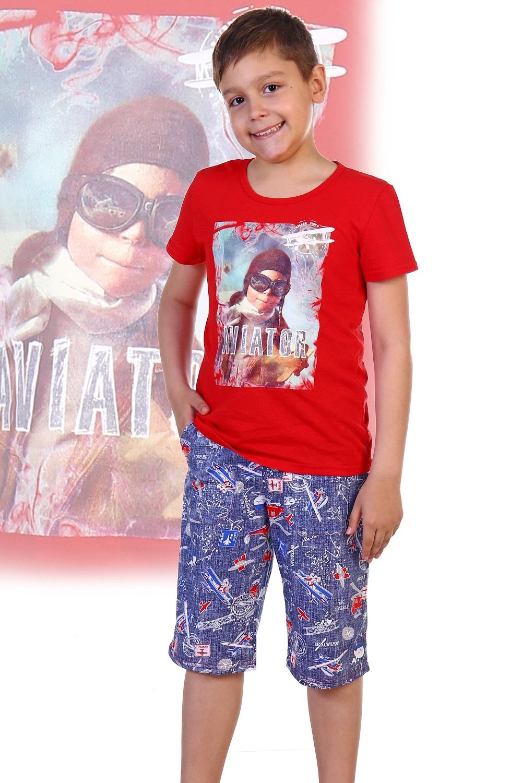 Костюм детский для мальчика Лётчик футболка и шортыКомплекты и костюмы<br><br><br>Размер: 40