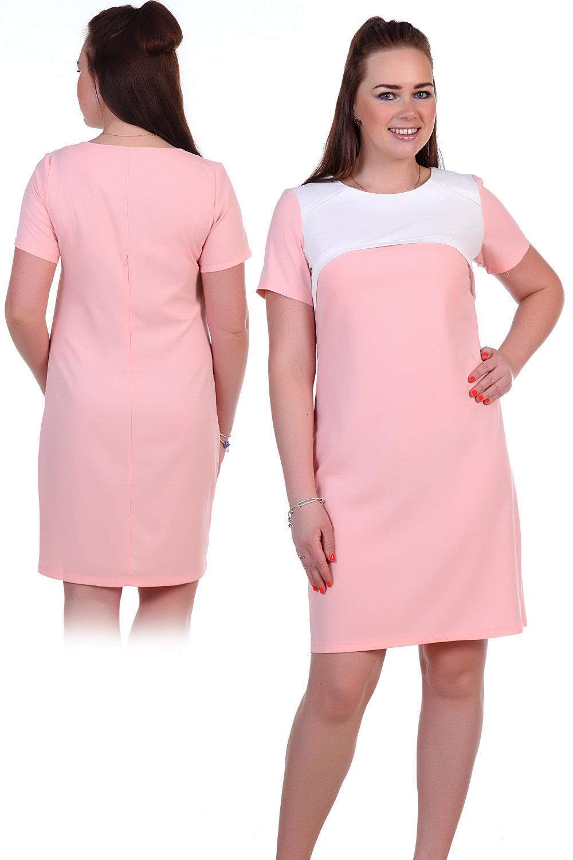 Платье женское Эвадор с коротким рукавомПлатья<br><br><br>Размер: Розовый