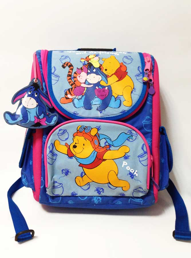 Рюкзак школьный для девочки Винни Пух-2 ортопедический каркасный сине-сиреневыйШкольная форма<br><br>