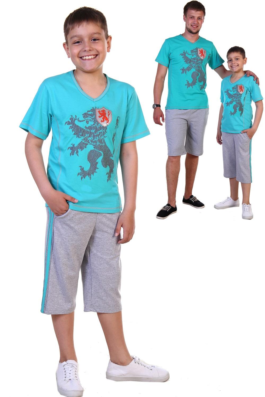 Костюм детский для мальчика Тимон футболка и шортыКомплекты и костюмы<br>Костюм детский для мальчика: яркая футболка с коротким рукавом, V-образным вырезом горловины, крупным принтом спереди и шорты длиной до колена с карманами и лампасами. <br>Ткань -кулирка.<br><br>Размер: 36
