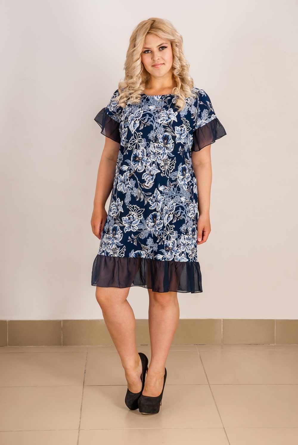 Платье женское Гренада с оборкамиПлатья<br><br><br>Размер: 56
