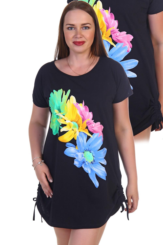 Туника женская Гербера с коротким рукавомТуники, рубашки и блузы<br><br><br>Размер: Чёрный