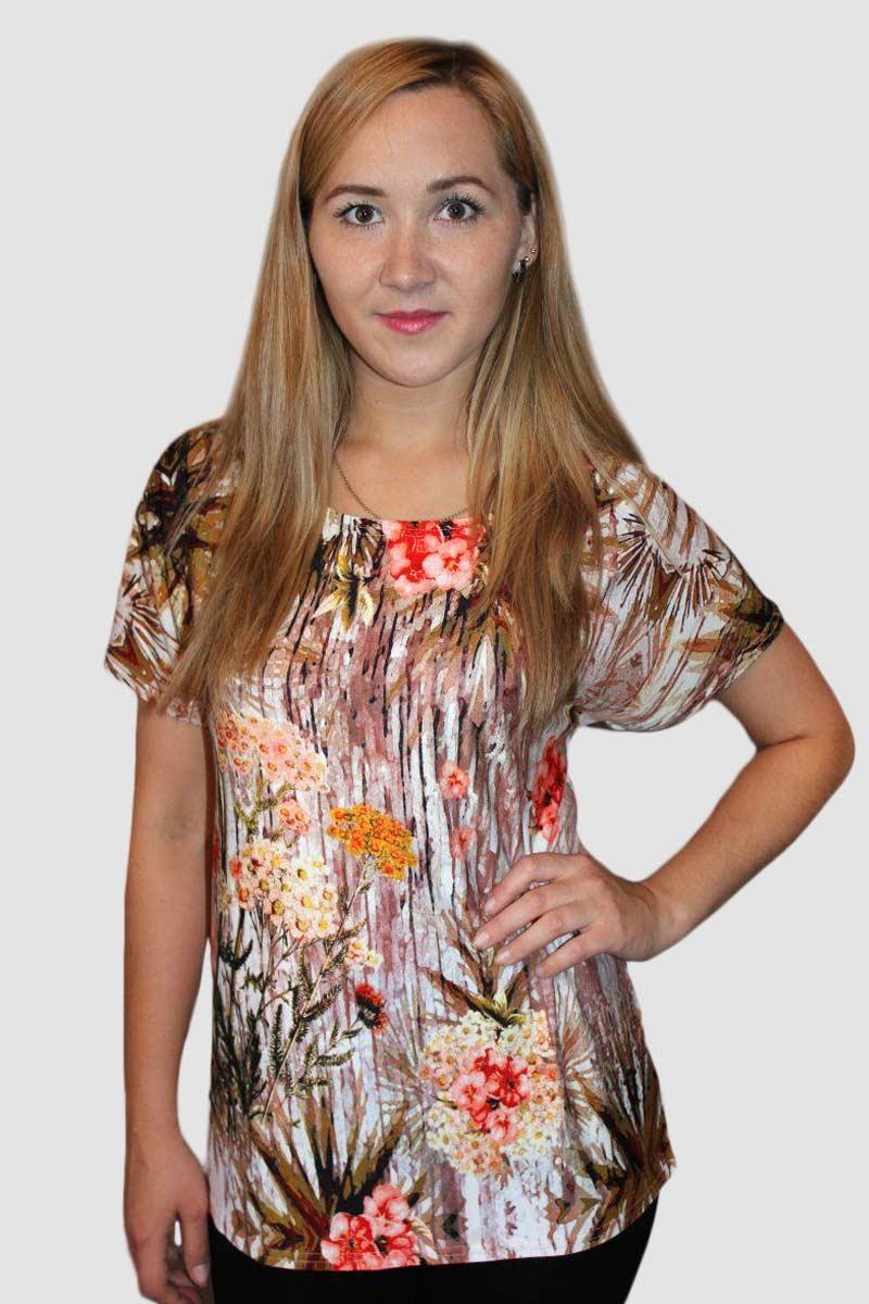 Блузка женская Яванна с коротким рукавомБлузы<br><br><br>Размер: 58