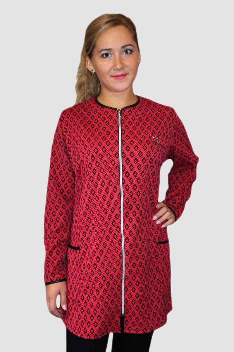 Кардиган женский Ромбик красный на молнииКуртки и ветровки<br><br><br>Размер: 54