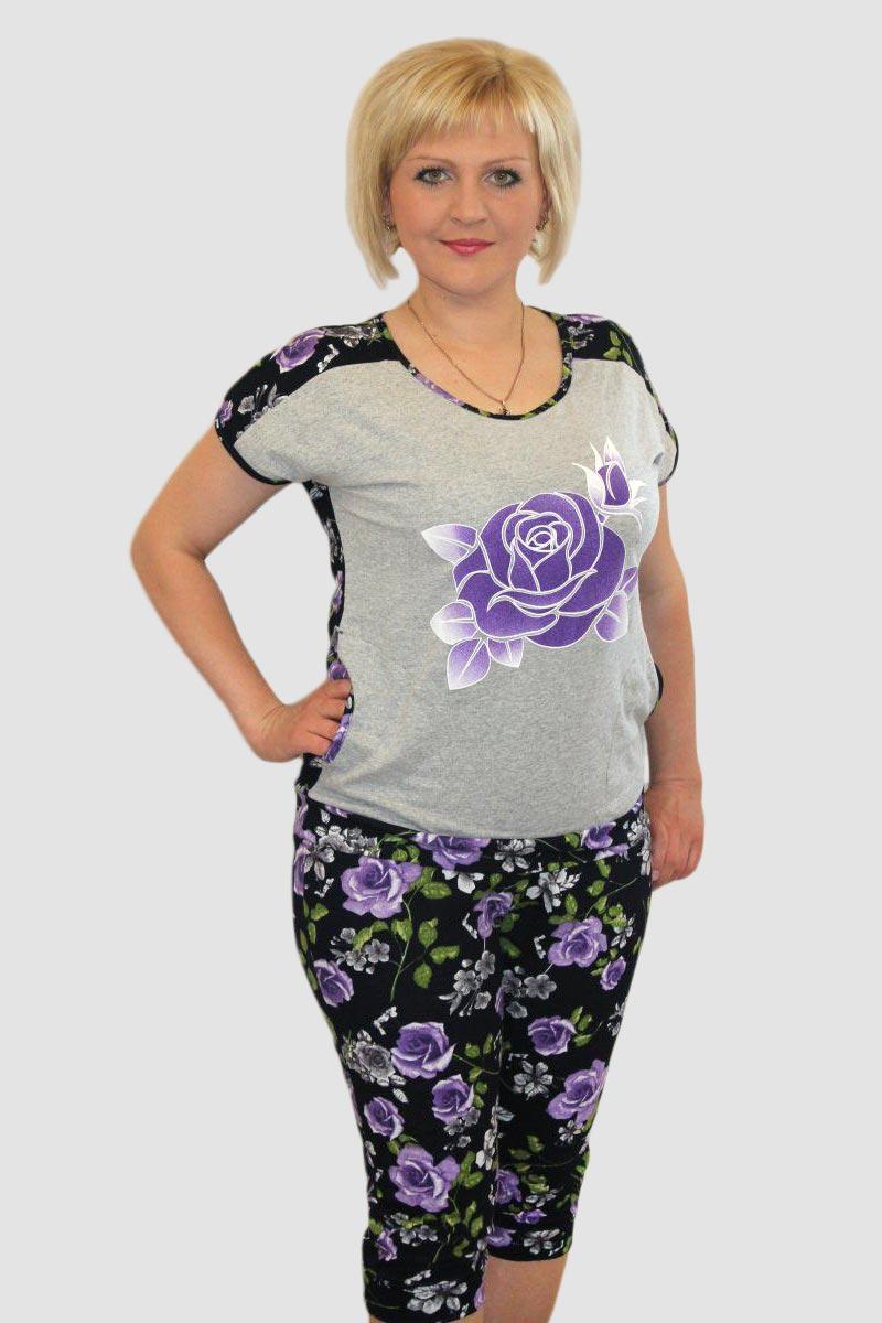 Костюм женский Голубая роза футболка и бриджиКостюмы<br><br><br>Размер: 58
