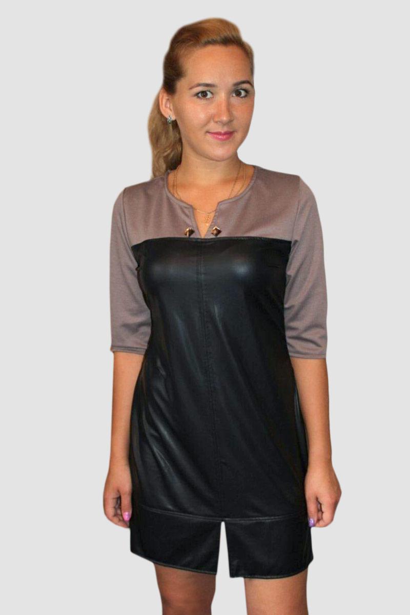 Платье женское Элеонора бежевое с рукавом до локтяПлатья<br><br><br>Размер: 44