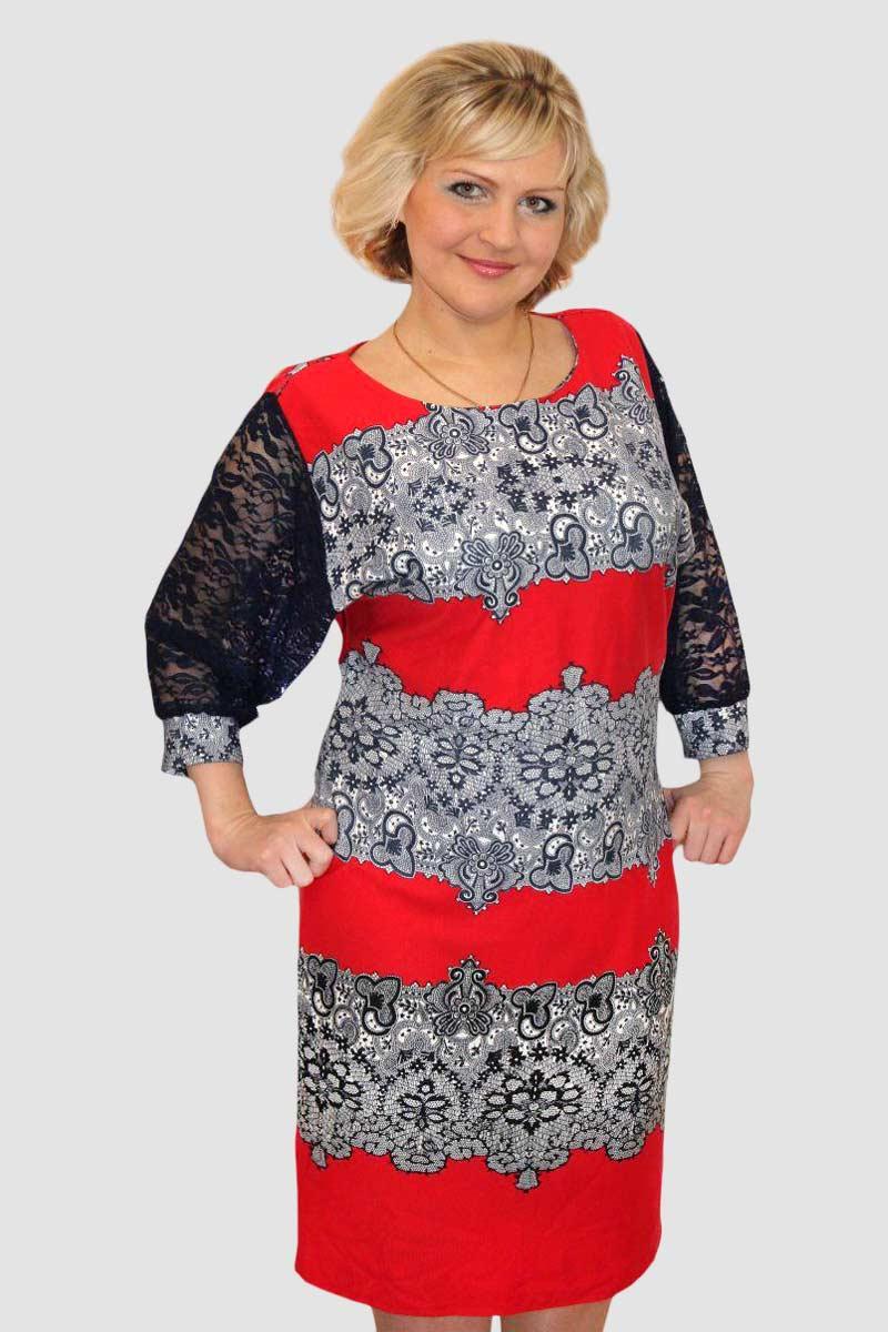Платье женское Экспрессия с кружевным рукавомПлатья<br><br><br>Размер: 46