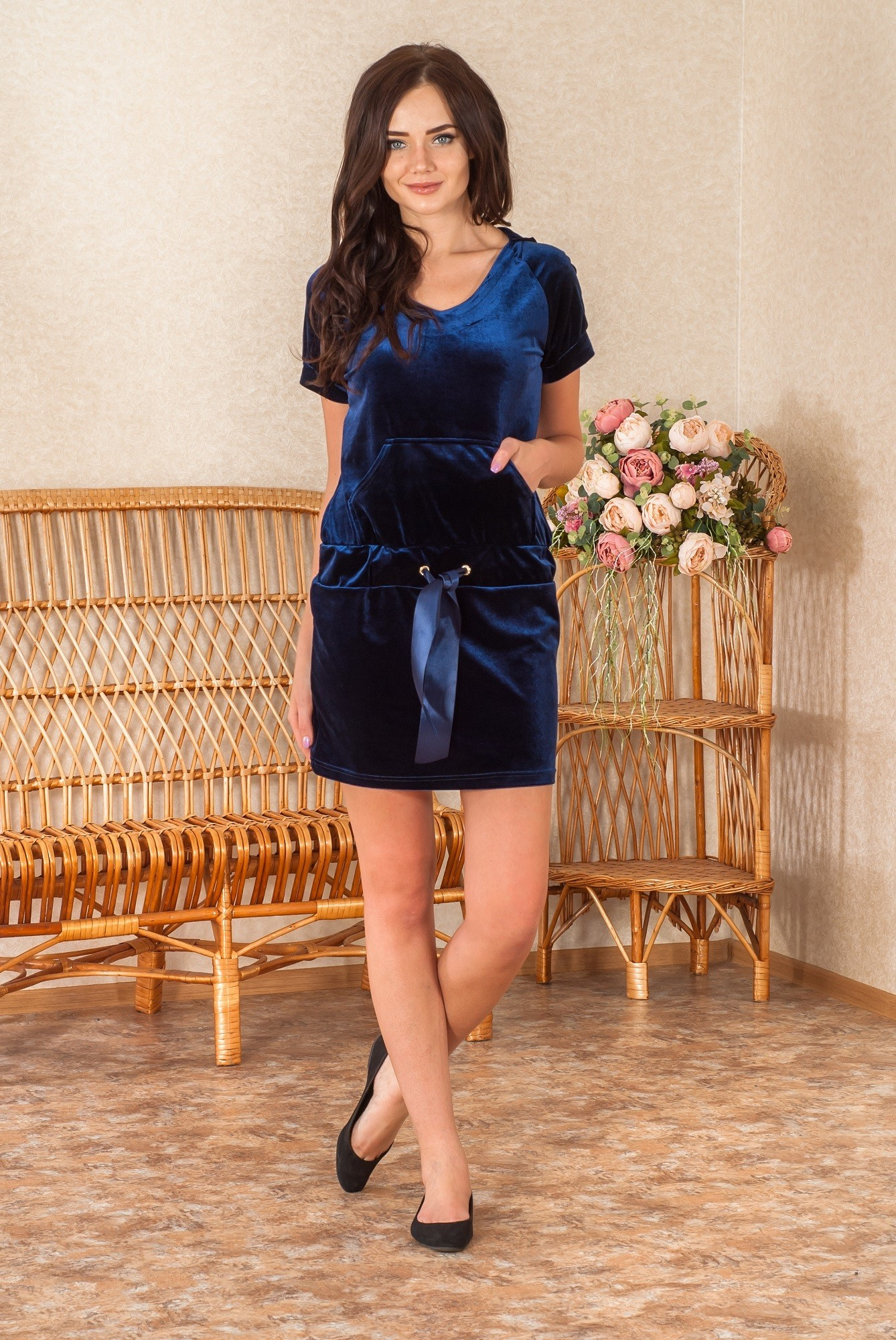 Платье женское Бархат (велюр) с карманамиПлатья<br><br><br>Размер: 46