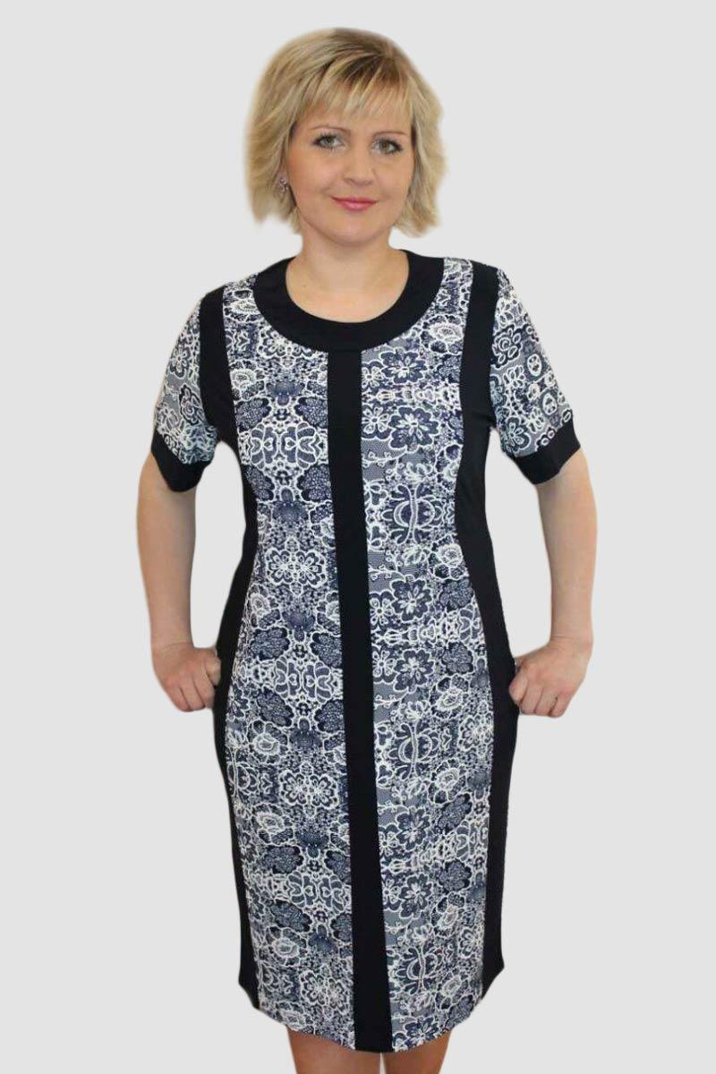 Платье женское Фаина с кружевное вставкойПлатья и сарафаны<br><br><br>Размер: 54
