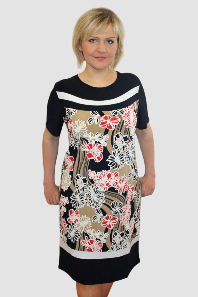 Платье женское Калерия (коричневое) с коротким рукавомПлатья<br><br><br>Размер: 60