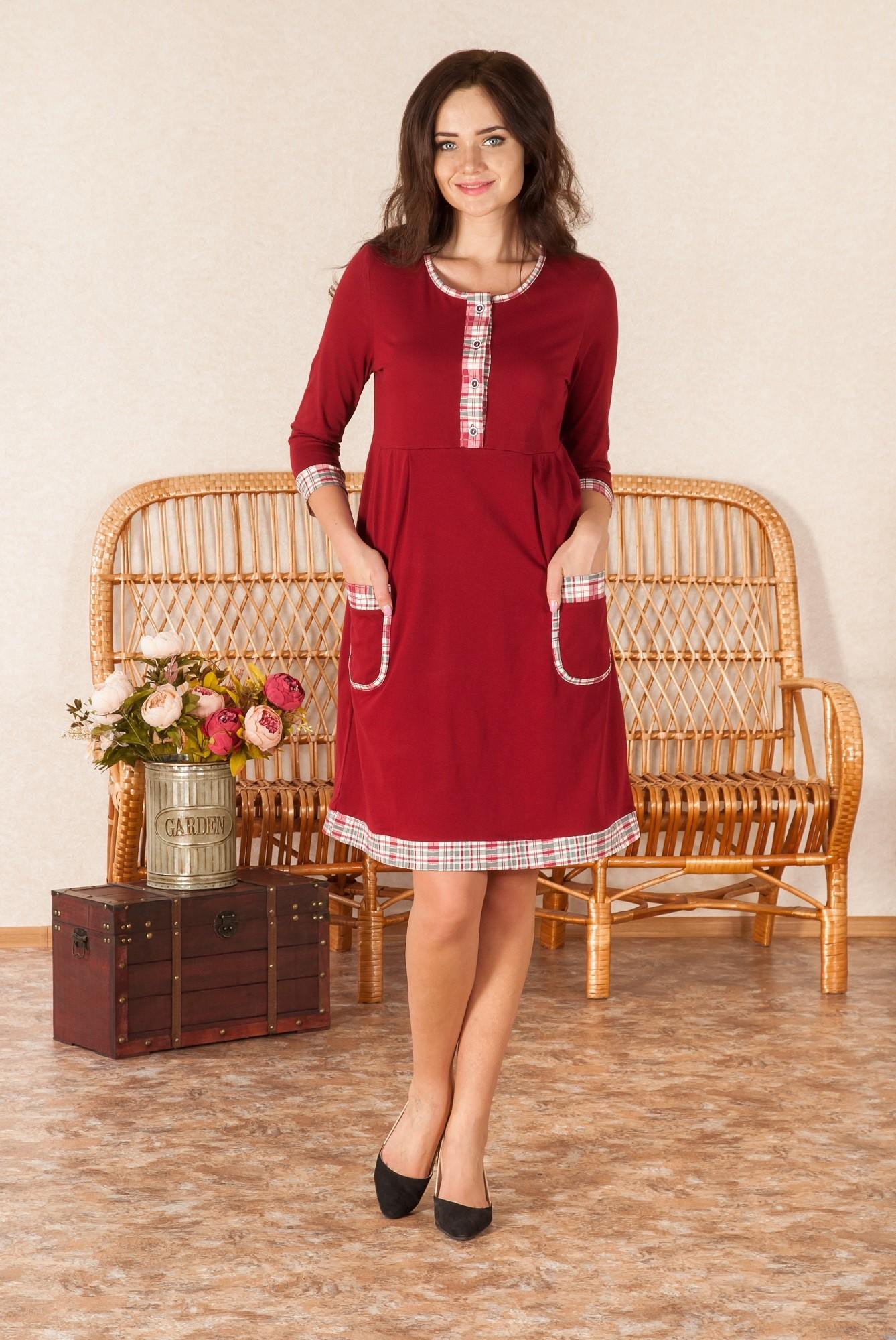 Платье женское Шотландия с рукавом 7/8Платья<br><br><br>Размер: 46