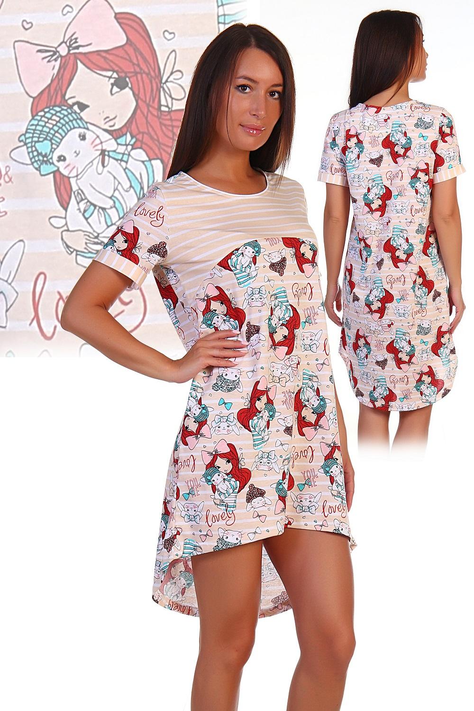 Туника женская Рыжик с коротким рукавомТуники<br><br><br>Размер: Полоса спереди