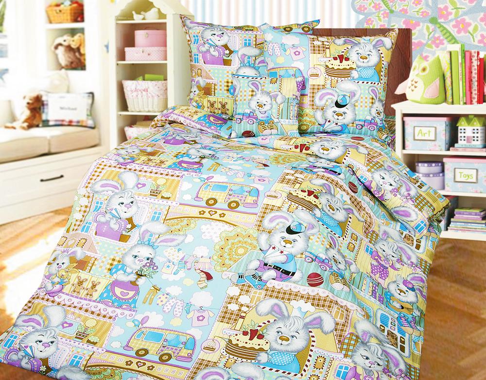 Зайкин город детский комплект постельного бельяДетское постельное белье<br><br><br>Размер: 1,5-спальный (наволочки 70х70)