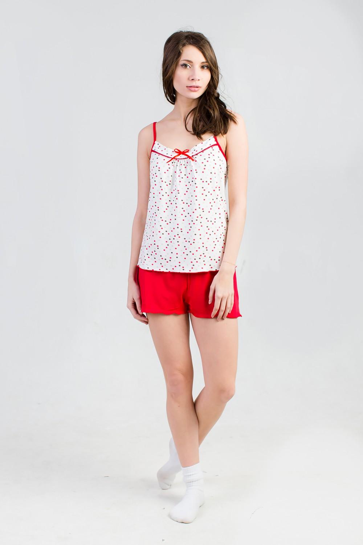 Комплект женский Ева красный (майка+шорты)Коллекция ВЕСНА-ЛЕТО<br><br><br>Размер: 44