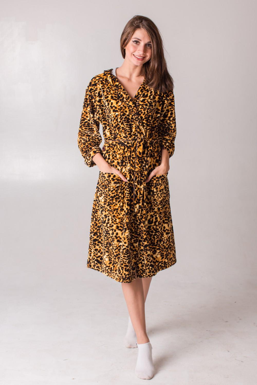 Халат женский Пантера запашной с поясомКоллекция ВЕСНА-ЛЕТО<br><br><br>Размер: 48