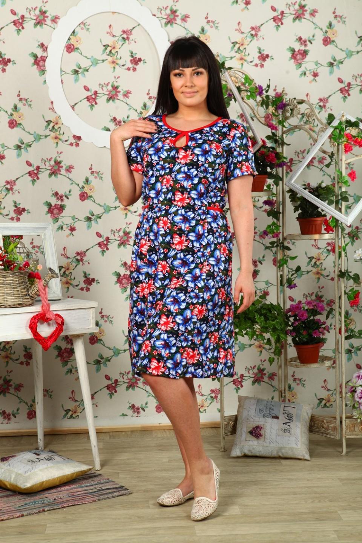 Платье женское Капелькас коротким рукавомПлатья<br><br><br>Размер: 50