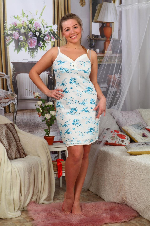 Сорочка женская Лорана на тонких бретеляхДля дачи и огорода<br><br><br>Размер: белый