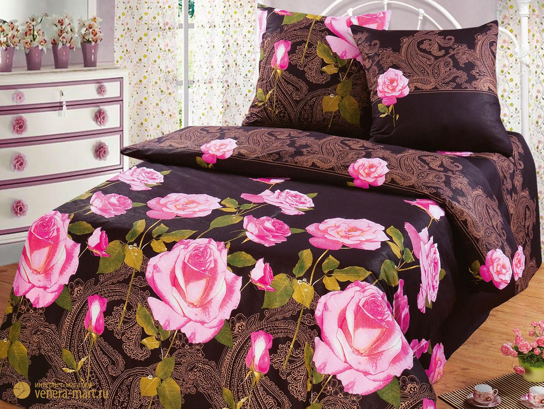 Пододеяльник Чайная роза (1шт)Пододеяльники<br><br><br>Размер: 2 спальный 217*175