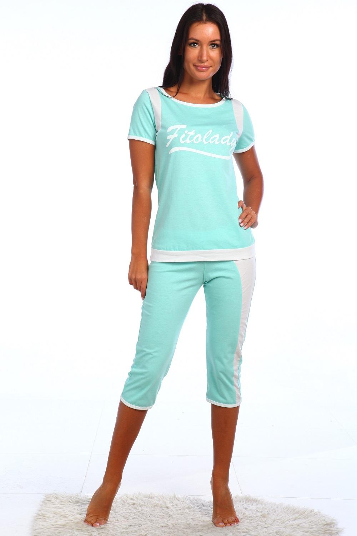 Костюм женский Амулет  футболка+бриджиСпортивные костюмы<br><br><br>Размер: розовый