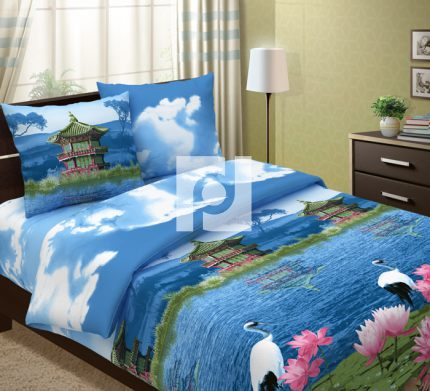 Комплект постельного белья Пагода с компаньономБязь<br><br><br>Размер: 2сп. с европростыней (2 нав. 70х70)